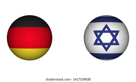 Israel and Germany Circular Flags Together - White Background - 3D Illustration Fabric Texture