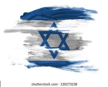 Israel. Israeli flag  painted on white surface