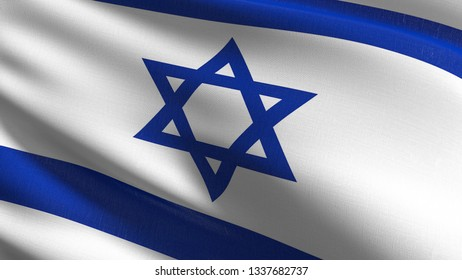 Israel national flag blowing in the wind isolated. Official patriotic abstract design. 3D rendering illustration of waving sign symbol.