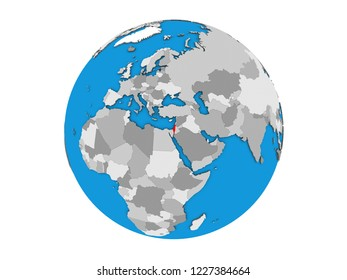 Israel on blue political 3D globe. 3D illustration isolated on white background.