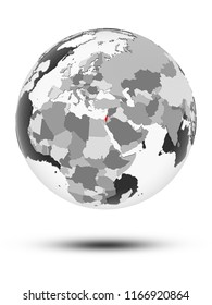 Israel on globe with translucent oceans isolated on white background. 3D illustration.