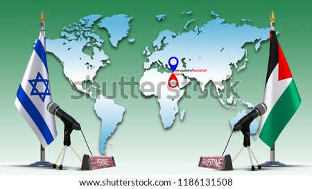 Israel And Palestine World Map.Israel Palestine Flags Negotiate Talking Speech Stock Illustration