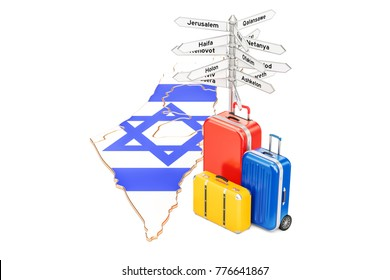 Israel travel concept. Israeli map with suitcases and signpost, 3D rendering
