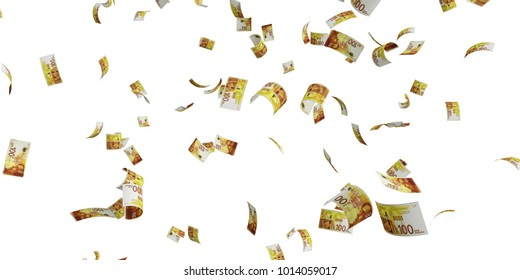 Israeli 100 new shekel banknote - High resolution 3d render Isolated on white background