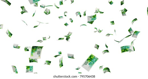 Israeli 50 new shekel banknote - High resolution 3d render Isolated on white background