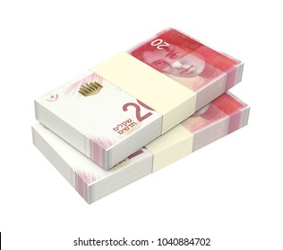 Israeli Shekel bills isolated on white with clipping path. 3D illustration.