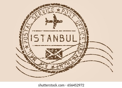 Istanbul mail stamp. Old faded retro styled postmark. Illustration. Raster version