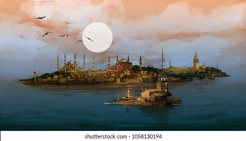 Istanbul Night Panoramic Illustration with Maiden's Tower