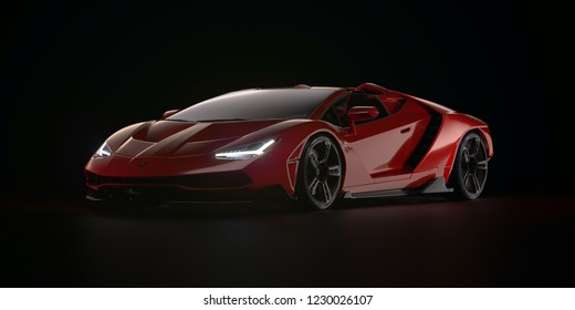 Istanbul, Turkey, 14.11.2018. Sport Car Lamborghini Centenario Red studio shot