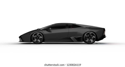 Istanbul, Turkey, 14.11.2018. Sport Car Lamborghini Reventon Black studio shot 3d render