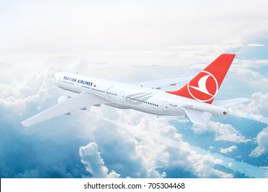 ISTANBUL, TURKEY - AUGUST 17:  Turkish Airlines Boeing 777 on approach to runway at the Ataturk International airport. 3D Illustration.