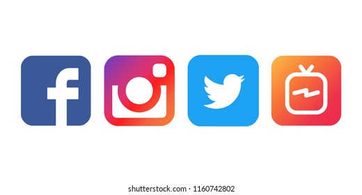 Istanbul, Turkey - August 21, 2018: Collection of popular social media logos printed on white paper: Facebook, Instagram, Twitter and IGTV.