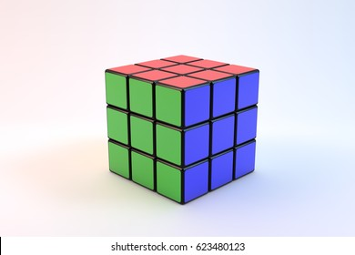 ISTANBUL- TURKEY - DECEMBER 24, 2016: Rubik's cube on the white background. Rubik's Cube on a white background. Rubik's Cube invented by a Hungarian architect Erno Rubik in 1974 this is a 3D rendering