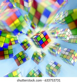 ISTANBUL- TURKEY - DECEMBER 24, 2016: Rubik's cube on the white background. Rubik's Cube on a white background. Rubik's Cube invented by a Hungarian architect Erno Rubik in 1974 this is a 3D render