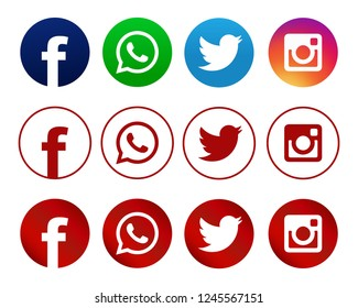 Istanbul, Turkey - November 30, 2018: A collection of popular social media logos printed on paper: Facebook, Whatsapp, Twitter and Instagram.