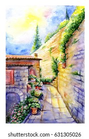 Italian ancient cityscape. Verrucola fortress in summer. Watercolor painting