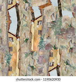 Italian city. Oil painting seamless pattern. High quality.