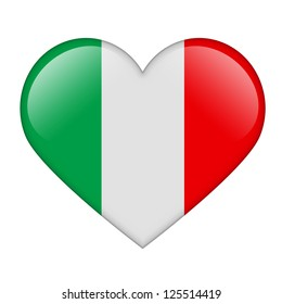 The Italian flag in the form of a glossy heart