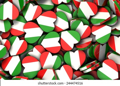 Italian flag heart background