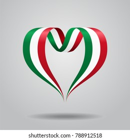 Italian flag heart-shaped wavy ribbon. Raster version.