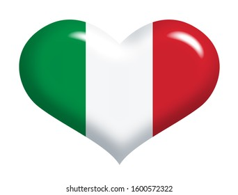 Italian flag on heart silhouette