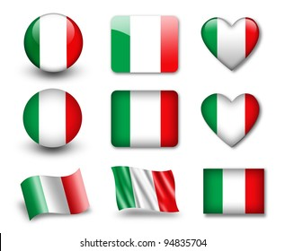 The Italian flag - set of icons and flags. glossy and matte on a white background.