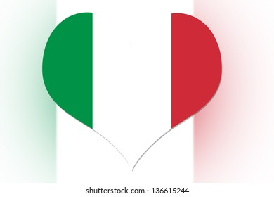 Italian Flag in the shape of a heart