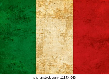 Italian Flag With A Vintage And Old Look