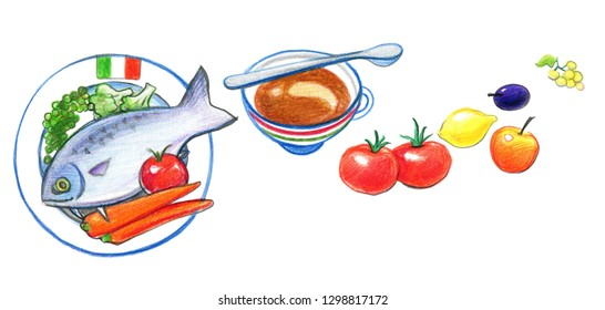 Italian food. Fish, carrots, tomatoes, lemon, fruits. Drawing with colored pencils