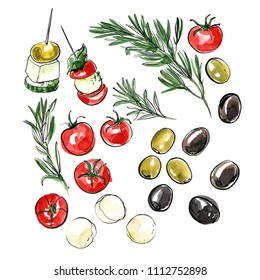 Italian food painted in watercolor on a white background. Color ink sketch food. Tomatoes, marasmus, green olives, black olives, mozzarella, canapes. Snacks