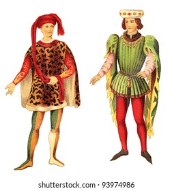 Italian and French nobleman (Late Middle Ages) / vintage illustration from Meyers Konversations-Lexikon 1897