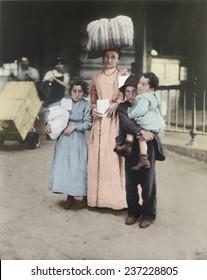 Italian immigrant family at Ellis Island ca 1910, Digital Color.