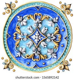Italian majolica  decoration on ceramic tiles,  hand drawing