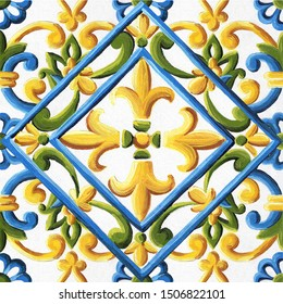 Italian majolica, illustration Italian majolica decoration on ceramic tiles,  hand drawing