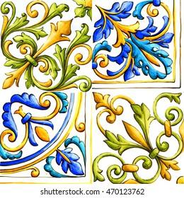 Italian majolica tiles, floral ornament