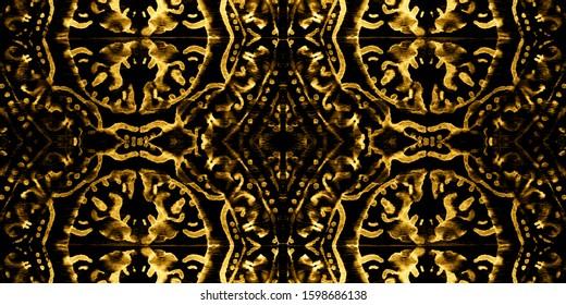 Italian Majolica Watercolor. Yellow Print. Luxury Italian Tiles. Patchwork Ceramic. Luxury Ethnic Watercolor. Gold Rustic Wall Tiles. Ethnic Oriental. Sun Ornament.