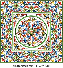 Italian majolica,watercolor illustratio, Italian majolica decoration on ceramic tiles, in blue, brown, green and yellow,colors