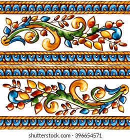 Italian majolica,watercolor illustration Italian majolica decoration on ceramic tiles, in blue, brown, green and yellow colors.
