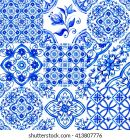 Italian majolica,watercolor illustration Italian majolica decoration on ceramic tiles, in blue colors
