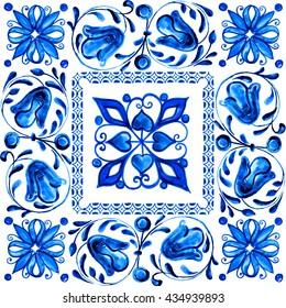 Italian majolica,watercolor illustration Italian majolica decoration on  tile, in blue colors.