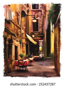 Italian outdoor european cafe painting torn edges