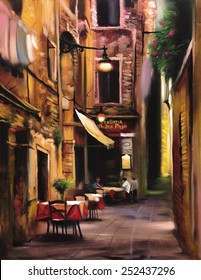 Italian outdoor european cafe painting