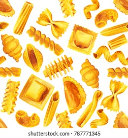 Italian pasta food set watercolor illustration hand painted pattern isolated on white background