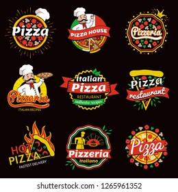 Italian pizza restaurant promotional emblems set with friendly cook that has long mustaches isolated raster illustrations set on black background.