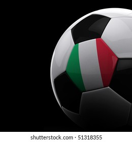 Italian soccer ball on black background