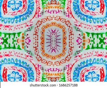 Italian Tile. Rainbow Decoration. Multicolored Tiles Frame. Islamic Geometry. Ethnic Brush. Bohemian Tapestry. Colorful Ethnic Pattern. Neon Print.