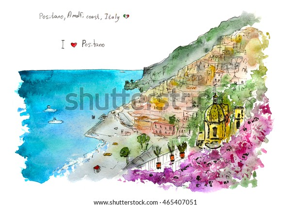Italian View Positano Amalfi Coast Hand Stock Illustration