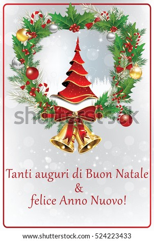 italian winter holiday greeting card merry christmas and happy new year italian language - How To Say Merry Christmas In Italian
