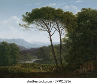 Italianate Landscape with Pines, by Hendrik Voogd, 1795 Dutch painting, oil on canvas. Landscape with clear forms, space, and clear atmosphere painted in Italy by the Dutch artist. It echoes earlier l