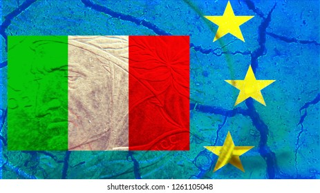Italian-European conflict Italian flag with translucent image of Dante, inserted into a section of the European flag with stars.